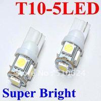 Wholesale 100pcs/lot white 194 168 192 W5W T10 5050 5 smd super bright Auto led car lighting/ba9s T11 wedge auto lamp