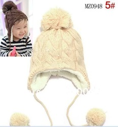 Free shipping,Stripe plus velvet children ear protectors cap, wool cap hanging ball,Children's knitted hats(5 colors) MZ0948(China (Mainland))