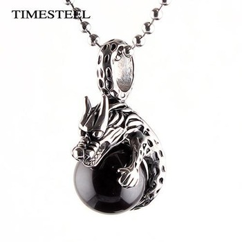 TSN075897 Fashion Stainless Steel Punk Black Stone Dragon Necklace For Men