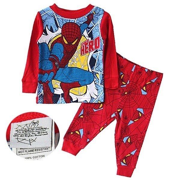 Spiderman Pajamas Set, Baby Sleep Wear,Baby Boys Lovely Sets ,Long sleeve Cotton Soft , Freeshipping(China (Mainland))