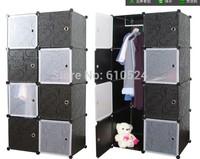 New DIY PP Plastic Assembled Plastic Bedroom Wardrobe Cabinets Folded Standing Wardrobe