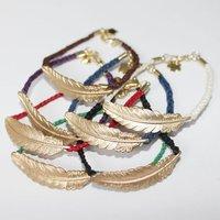 Retro Link  Bracelet Feather Ornament Pure Manual Weaving    PZX-39