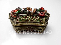 Wholesale(70pcs Pack)-2012 new gift sharp bronze plated pewter Alloy metal jewelry box
