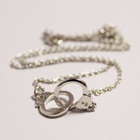 DIY Punk Handcuffs Stainless Steel Pendant Charm Necklace PZX-72