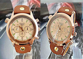 Wholesale Men Watch Brown Genuine Leather Wide Band Wrist Watch men man watches DS002-1