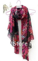 free shipping +long shawls/Oil painting rose flowers large new voile scarf