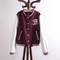 Cx96 women's stand collar patchwork casual long-sleeve jacket baseball uniform short jacket