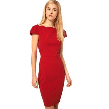 New Fashion Women's Elegant Short Sleeve Ruffles Mini Slim Dress Back Zipper Sexy Ladies Red/Black Party Dresses Vestidos Dr013