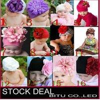 12pcs/lot Mi12 style Fashion Big flower Cotton children's baby hats B053