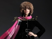 Natural color real raccoon dog fur winter knitting  hat