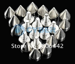 Big Discount ! 100pcs 10mm Silver Metal Bullet Rivet Spikes Stud Punk Bag Belt Leathercraft Accessories DIY Free Shipping(China (Mainland))