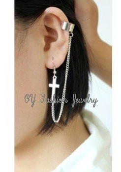 MIN Order is $5   1PC Exotic Honest Cross Sign Ear Cuff Chain Connect Stud Clip Earring Fashion Jewelry Free Shipping E1-162