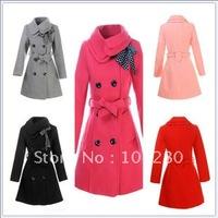Winter jackets new 2014 gentle women double-breasted turn-down collar slim wool coat medium-long coat  c127 Free shipping