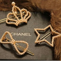 Min. order US$10 Free Shipping Pearl DIY Fashion Style Hairclips Side Clip Tiaras Five-pointed Star Bow tie Hair Acessories
