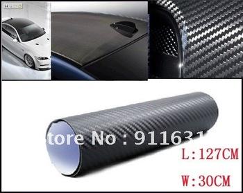 Free shipping 3D 60cm x127cm Carbon Fibre sticker Vinyl Sheet BLACK For All Car