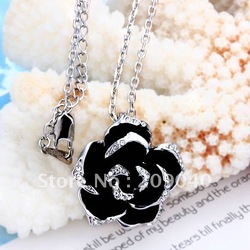 Free Shipping/Fashion jewelry.High quality,platinum plated necklace pandent, Wholesale fashion jewelry.flower love pandent.N008(China (Mainland))
