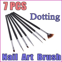 5 sets/lot  7PCS Black Handle Nail Art Design Pen Painting Dotting Pen Nail Art Brush Nail Tools Set ,  Wholesale