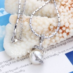 Free Shipping/Fashion jewelry.High quality,platinum plated necklace pandent,Wholesale fashion jewelry.love pearl pandent.N014(China (Mainland))