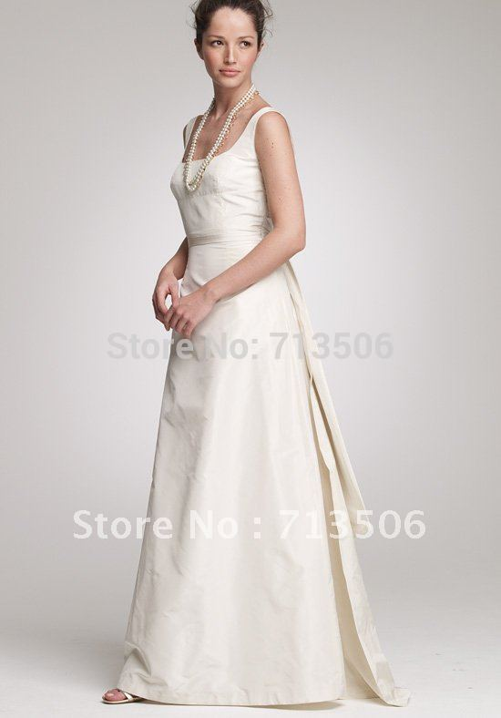 A-Line Square Floor Length Silk Taffeta Beach Wedding Dress(China (Mainland))