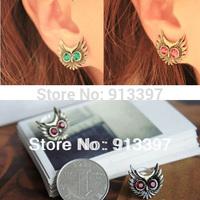 36 Pairs Fashion Retro Blue Red Eyes Rhinestone Night Owl Stud Earrings Animal Nighthawk Earring // Random Color