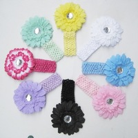 50pcs/lot 8 Colors flower Crochet Baby Headband  Whosesale nice design