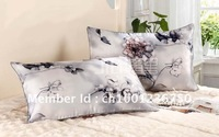 Free shipping soft fabric 100% mulberry silk  pillowcases KING pillow cases Flowers/grass/leaves