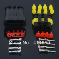 (10)-4 Pin Waterproof Electrical Wire Connector Plug 10 sets Automotive Marine