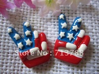 flat back resin USA flag for phone decoration 12pcs/lot