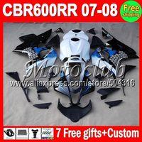 On sale+7gifts Graffiti blue For HONDA CBR600RR F5 07-08 CBR 600RR CBR600 RR 600 RR 07 08 2007 2008 blue white black Fairing Kit