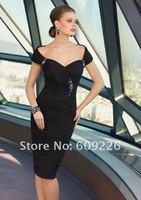 Top Selling Dress ! Stunning Knee Lenght Sleeveless Black Chiffon Designer Cocktail Dress 2013,Short Evening Dress with Beadings