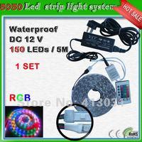 30 Leds/m Led RGB 5050 Waterproof Light-emitting Diode Strips 150 Leds 5M Tira De Led Set With 3A 12V Adapter +Remote Controller