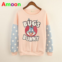 Amoon / Women 2014 New Hot Sale Spring Autumn Winter Pretty Cut Blush Bear Bow Cartoon Cotton Hoodies /Free Size /White Color