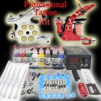 Starter Tattoo Kit 2 Machine Gun With LCD Power needles Inks Tattoo equipment set EMS & DHL FREE SHIPPING