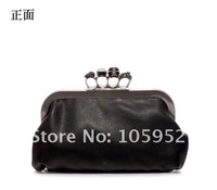 Free Shipping PU tide diamond skull ring bag Kido clutch evening bag Korean retro handbag