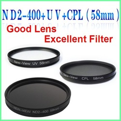 High Recommend 58mm ND2-400+UV +CPL lens filters camera d3100 d5100 d90 550d d7000 electronics macro slr filter(China (Mainland))
