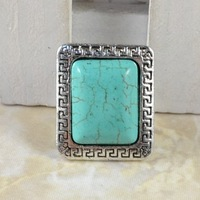Wholesale Vintage jewelry Tibet Silver Alloy Turquoise Bead Square Rings size adjustable R303