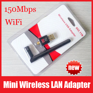 Wholesale 10pcs/lot, Mini 150Mbps USB WiFi Wireless Network Card 802.11 n/g/b LAN Adapter with Antenna, Free Shipping+Retail Box