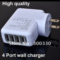 High quality 4 port usb wall charger  for ipad /iphone  cell phone 50pcs/lot