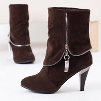 2013 New style women's suede fashion boots,new design lady's lace up high heel boots/ woman shoes / HOT MQ- 311
