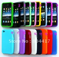 free Shipping!  Wholesale 10PCS/lot Mixed Color Soft Silicone Back Case Cover Skin for Apple iphone 4 4S