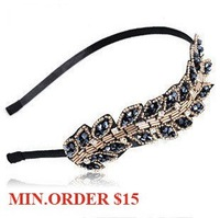 MIN.ORDER $15, MIN.ORDER $15, handmade fashion beads leaf wave hairband,free shipping by CPAM