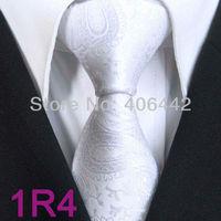 YIBEI Coachella ties Men's SKINNY Tie White Solid Color Paisley Necktie Jacquard Woven SLIM Narrow fashion Tie For Men Wedding