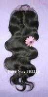 "Indian remy Hair Body Wave Color 1# Lace Top Closure 3.5""x4"", 16Inch Baby Hair Around"