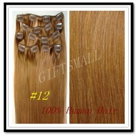 "15"" 18"" 20"" 22"",7pcs,70g,#12,Light Golden Brown,Brazilian Remy Hair,CLIP IN HUMAN HAIR EXTENSIONS,"