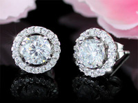 2 Carat Round CZ Cubic Zirconia Simulated Diamond Stud Earrings CSE248