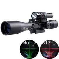 Free Shipping Bu 3-9X40 E rifle gun airso ft hunting Scope scopes w Red Laser 501B Flash Torch Laser sight sight telescope