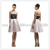 Free Shipping Vintage Ivory And Black Bridesmaid Dresses Tulle Knee Length