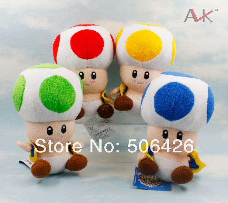Good Quality 7'' Super Mario Bros Mushroom People Plush Toys Dolls+free shipping EMS 100pcs/lot(China (Mainland))