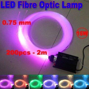 Dropship LED 16W RGB Multi-Colored Fibre fiber Optic DIY 2m 0.75mm Ceiling Kit Light Engine warranty 2 years CE -- free shipping