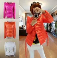 New 2014 autumn winter down coat women's fashion design down jacket with belt cotton-padded down jacket ourterwear parkas T015